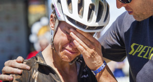 Ariane Kleinhans breaks down in tears as Bobby Behan tells her that they may have made up the time they lost in the stage 2 penalty during stage 3 of the 2015 Absa Cape Epic Mountain Bike stage race held from Oak Valley Wine Estate in Elgin to HTS Drostdy in Worcester, South Africa on the 18 March 2015 - Photo by Sophie Smith/Cape Epic/SPORTZPICS