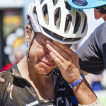Ariane Kleinhans breaks down in tears as Bobby Behan tells her that they may have made up the time they lost in the stage 2 penalty during stage 3 of the 2015 Absa Cape Epic Mountain Bike stage race held from Oak Valley Wine Estate in Elgin to HTS Drostdy in Worcester, South Africa on the 18 March 2015  Photo by Sophie Smith/Cape Epic/SPORTZPICS