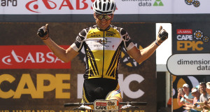Christoph Sauser of Investec-Songo-Specialized celebrates as he and partner Jaroslav Kulhavy of Investec-Songo-Specialized win the 121km stage 5 during stage 5 of the 2015 Absa Cape Epic Mountain Bike stage race held from HTS Drostdy in Worcester to the Cape Peninsula University of Technology in Wellington, South Africa on the 20 March 2015 - Photo by Shaun Roy/Cape Epic/SPORTZPICS