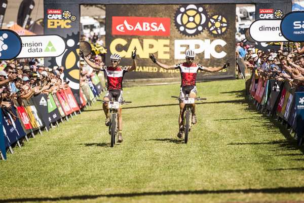 Matthys Beukes and Philip Buys of Scott Factory Racing win the African Leaders Jersey during the final stage (stage 7) of the 2015 Absa Cape Epic Mountain Bike stage race from the Cape Peninsula University of Technology in Wellington to Meerendal Wine Estate in Durbanville, South Africa on the 22 March 2015 - Photo by Nick Muzik/Cape Epic/SPORTZPICS