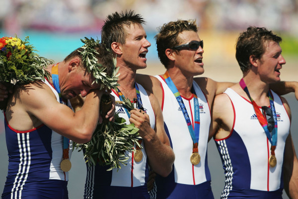James Cracknell with his teammates after winning gold as part of the Great Britain coxless four rowing squad at the 2004 Olympic Games in Athens. Image provided by James Cracknell ©