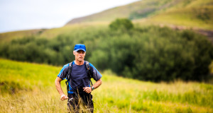 """Image by Bruce Viaene  Image caption: """"Race winner Mark Preen approaches Balloch in the Mountain Run stage of the Wartrail Challenge"""""""