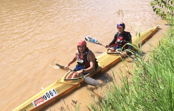 Paddlers were blessed with some brilliant conditions for the 2015 STIHL Umkomaas Canoe Marathon and it was the duo of multiple Marathon World Champion Hank McGregor (back) and Five-time Dusi Canoe Marathon Champion Andy Birkett (front) who won the two-day race. - Bridgette Hartley/ Gameplan Media