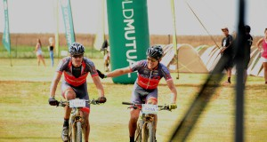 EAI Cycling's Johann Rabie (left) and Gawie Combrinck took their second consecutive stage win on day four of the Old Mutual joBerg2c mountain bike race in Winterton, KwaZulu-Natal, on Monday. Photo: Gretha Garnett