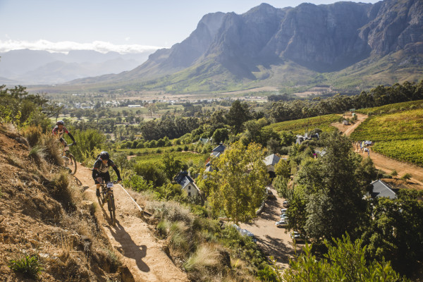 Riders during stage 1 of the 2015 Liberty Cape Winelands MTB encounter from Lanzerac in Stellenbosch to Le Franshoek Hotel in Franshoek.