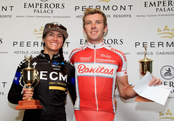 Cherise Stander of RECM (left) and Herman Fouché of Bonitas were the winners in the women's and men's race respectively at the Emperors Palace Classic in Johannesburg on Sunday. Photo: Yolanda van der Stoep