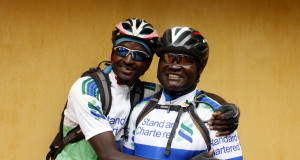 Douglas Sidialo: Kenya's Douglas Sidialo (right) is aiming to become the first blind person to complete the nine-day Old Mutual joBerg2c mountain bike race. He will ride on a tandem bicycle piloted by friend Joseph Mwangi (left). Photo: Jean du Plessis