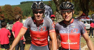 Race leaders Johann Rabie (left) and Gawie Combrinck stamped their authority on the Old Mutual joBerg2c with an unequivocal third stage victory on day five of the nine-day mountain bike race at Clifton Prep in Nottingham Road, KwaZulu-Natal, on Tuesday. Photo: Full Stop Communications