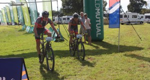 EAI Cycling's Johann Rabie (left) and Gawie Combrinck all but sealed their victory on day six of the nine-day Old Mutual joBerg2c near Underberg on Wednesday. Photo: Full Stop Communications