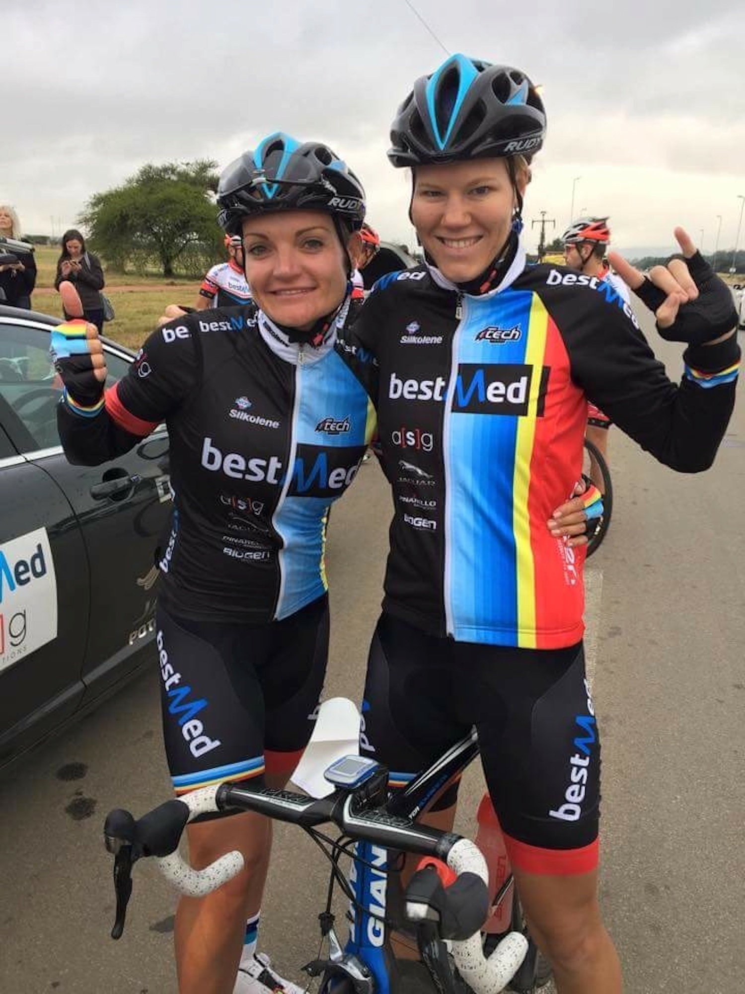 Maroesjka Matthee (right) and team leader Desray Sebregts celebrate Matthee's win at the Polokwane Mayoral Cycle Race in the Limpopo province on Sunday. Photo: Supplied