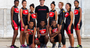 Richard Murray, SA's top triathlete, meets the Virgin Active Development Tri-team. Back row (from left to right): Ana Maquina, Leigh-Anne Maroon, Bianca Lakay, Summer-Lee Deng,  Margot Sheppard, Aqueelah Taljaard and Tracey Fredericks (reserve). Front row: Faiez Basardien, Schalk Damons and Ashley Jacobs.