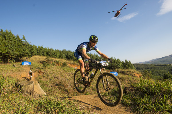 TIB Insurance's Andrew Hill charges through the Gauntlet en route to third place overall in Sunday's 60km Sappi Karkloof Marathon, the premier event of the 2015 Sappi Karkloof MTB Festival. - Anthony Grote/ Gameplan Media