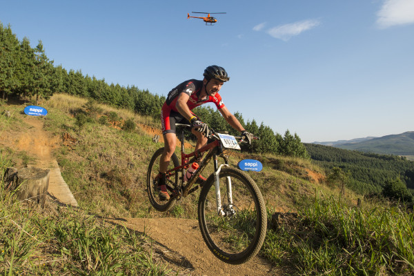 Biogen-Volcan's Max Knox enjoys his journey to victory in Sunday's 60km Sappi Karkloof Marathon, the premier event of the 2015 Sappi Karkloof MTB Festival. - Anthony Grote/ Gameplan Media