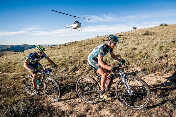 Eventual winners Andrew Hill (left) and Adriaan Louw in action on day two of the 2014 PwC Great Zuurberg Trek near Addo. Hill will defend his title alongside new partner Chris Wolhuter when the three-day mountain bike race starts at Zuurberg Mountain Village on Friday. Photo: Morné Marais