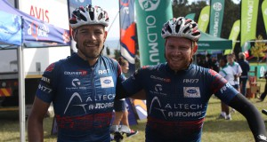 Pieter Seyffert (left) and Hanco Kachelhoffer of Altech Autopage Karan Beef celebrate their first stage win on day seven of the nine-day Old Mutual joBerg2c near Ixopo on Thursday. Photo: Full Stop Communications