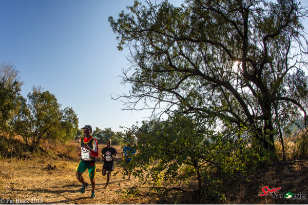 Edwin Sesipi on his way to another first place at the Spur Gauteng Winter Trail Series™. Image by Pat Black