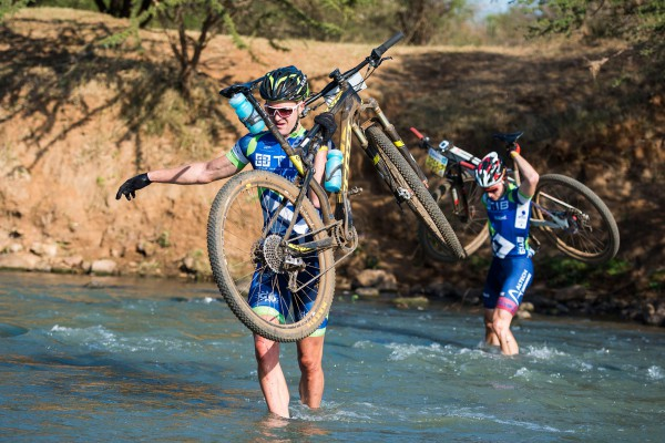 The day belonged to the Team TIB pair of Andrew Hill (front) and Chris Wolhuter who powered to a four minute lead at the end of the opening stage of the 2015 BSi Steel dusi2c on Saturday at the Mfula Store. Anthony Grote/ Gameplan Media