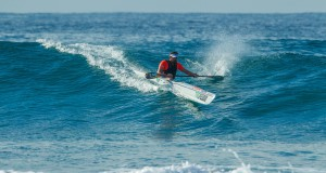 Barry Lewin overtook Wade Krieger to win the Seabreeze Built it Five Beaches, race two of the 2015 FNB Durban Downwind Surfski Series. Kevin Sawyer/ Gameplan Media