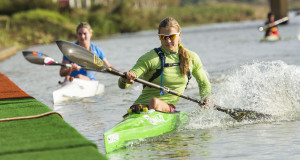 Senior women's champion Bridgitte Hartley comes into a portage during the SA Marathon Championships K1 races at Camps Drift. -  Anthony Grote/ Gameplan Media