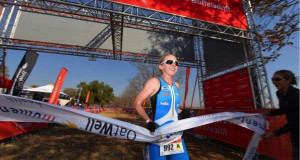 Andrea Steyn crosses the finish line in first place giving her the series lead