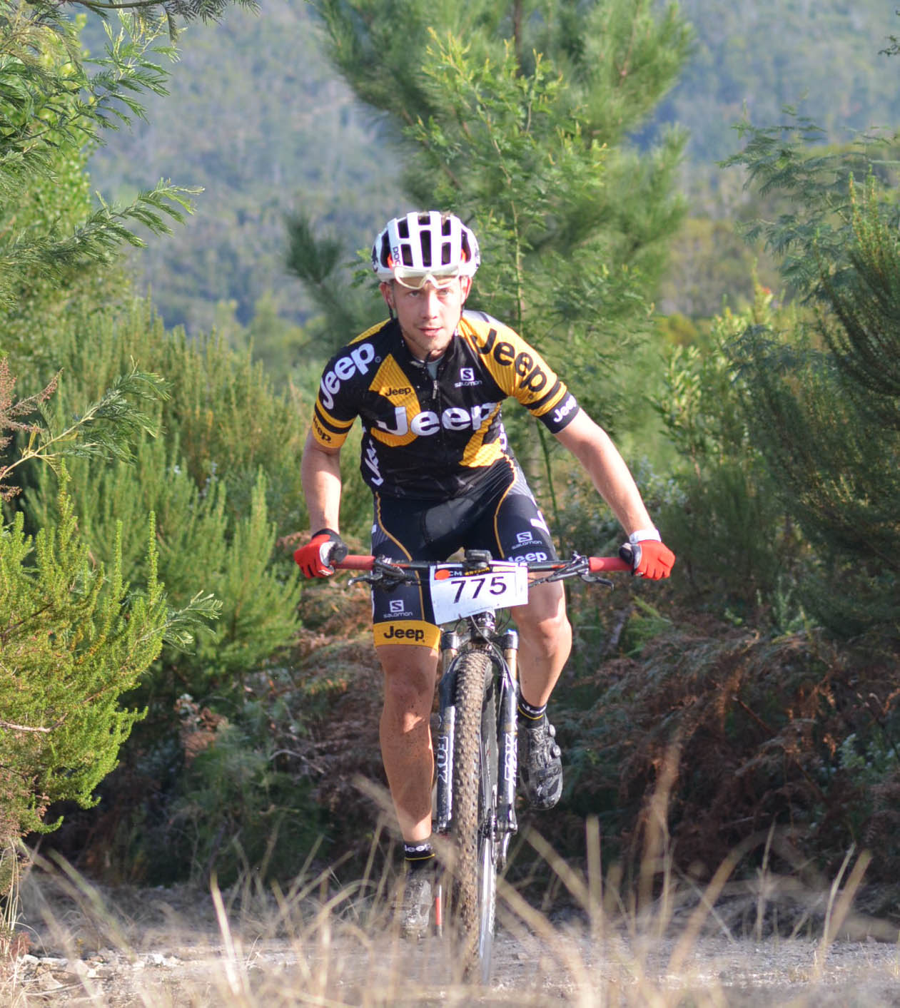 Former junior African cross-country champion Dylan Rebello (Jeep) won stage two of the three-day RECM Knysna 200 mountain bike race on Sunday. The Knysna local is currently second overall behind Nico Pfitzenmaier (Dorma). Photo: Full Stop Communications