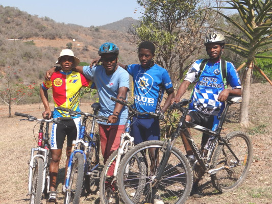 Three of the four members of the Mfula Store Team for the 2015 BSi Steel dusi2c line up to take on the two-day challenge (From left): Lindelani Ngcobo (not riding in 2015), Nkululeko Pewa, Msawenkosi Cili, Mbongeni Mzobe. - Gill Graaf/ Gameplan Media