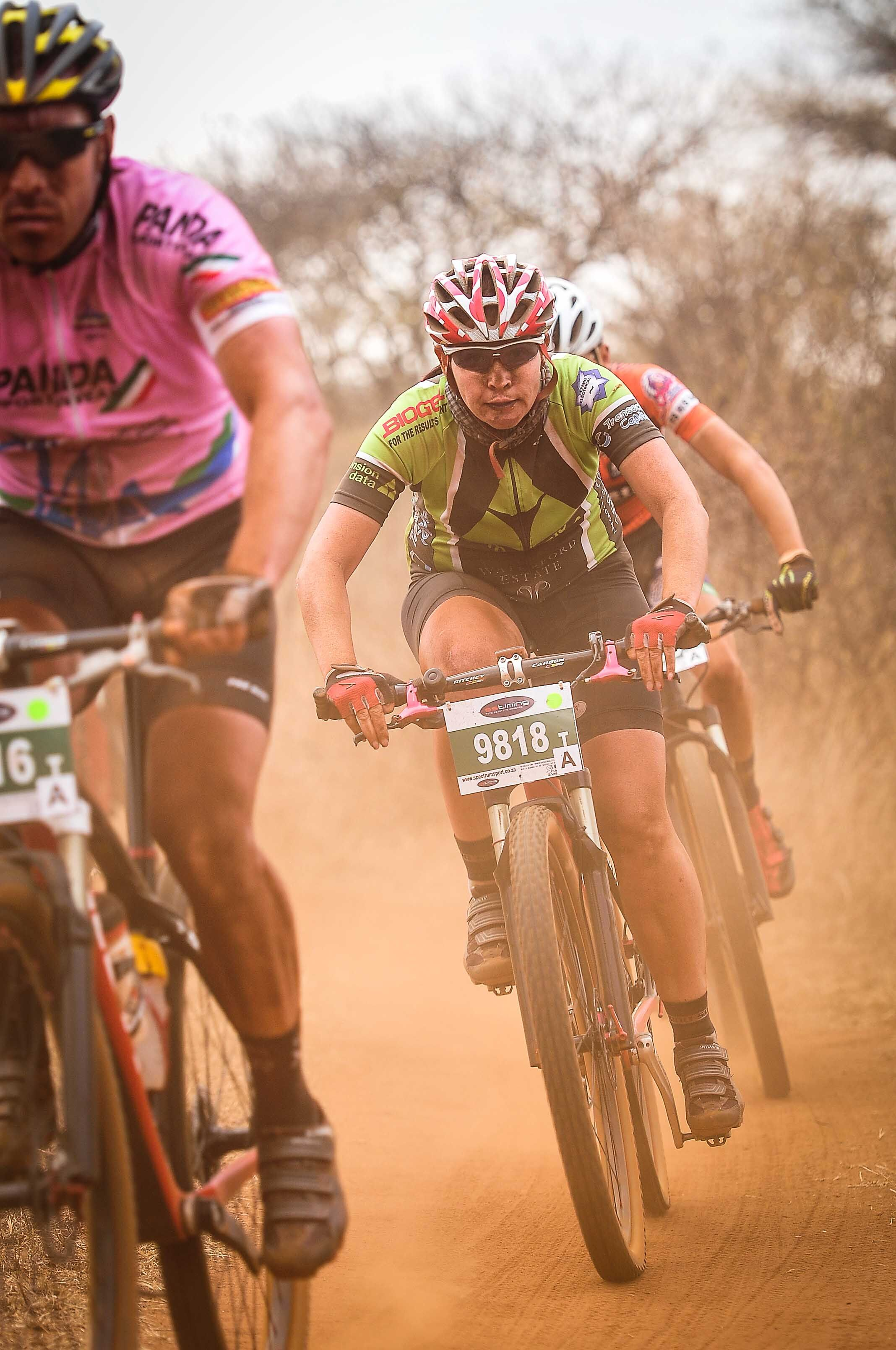 Ronel van Straaten took a third consecutive victory in the 60km Bestmed Sondela MTB Classic, presented by ASG, near Bela-Bela in Limpopo on Sunday. Photo: Jetline Action Photo