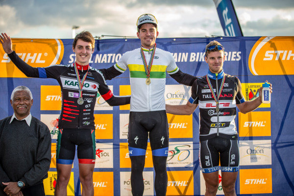 From left: Kargo Pro MTB's Alan Hatherly, Team RECM's James Reid and Full Dynamix/USN's Travis Walker celebrate their elite men's podium efforts at the 2015 Stihl South African Mountain Bike Championships presented by Subaru Cape Town/Novus Holdings on Saturday 18 July. Craig Dutton/ Gameplan Media