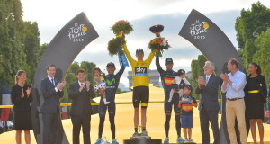 Chris Froome taking the 2015 Tour de France - ASO/B.Bade