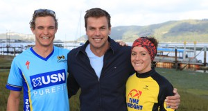 BIG5 Dragons Lagoon Mile Swim, Theo Blignaut and Carla van Huysteen with Ryk Neethling in Knysna  - Photo Supplied