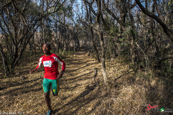 Edwin Sesipi on his way to the Championship title at the Spur Gauteng Winter Trail Series™. Image by Pat Black