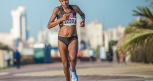 PUMA ambassador Lebogang Phalula in action at the Totalsports Women's Race in Durban earlier this month.  Lebogang shared the top step of the podium with her sister, Lebo after they both completed the 10km Totalsports Women's Race in Durban in an impressive time of 33 minutes 44 seconds.   Photo Credit:  Volume Photography