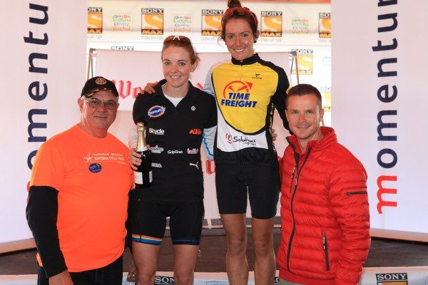 The ladies podium - Peter Southey (Knysna Rotary) Andrea Steyn, Carla van Huyssteen, Carel Bosman(Momentum) - PIcture Supplied