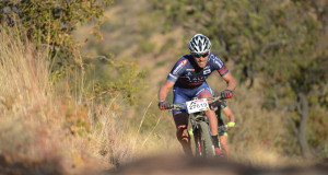 Pieter Seyffert leads the charge up the first climb at Nissan TrailSeeker Lionman