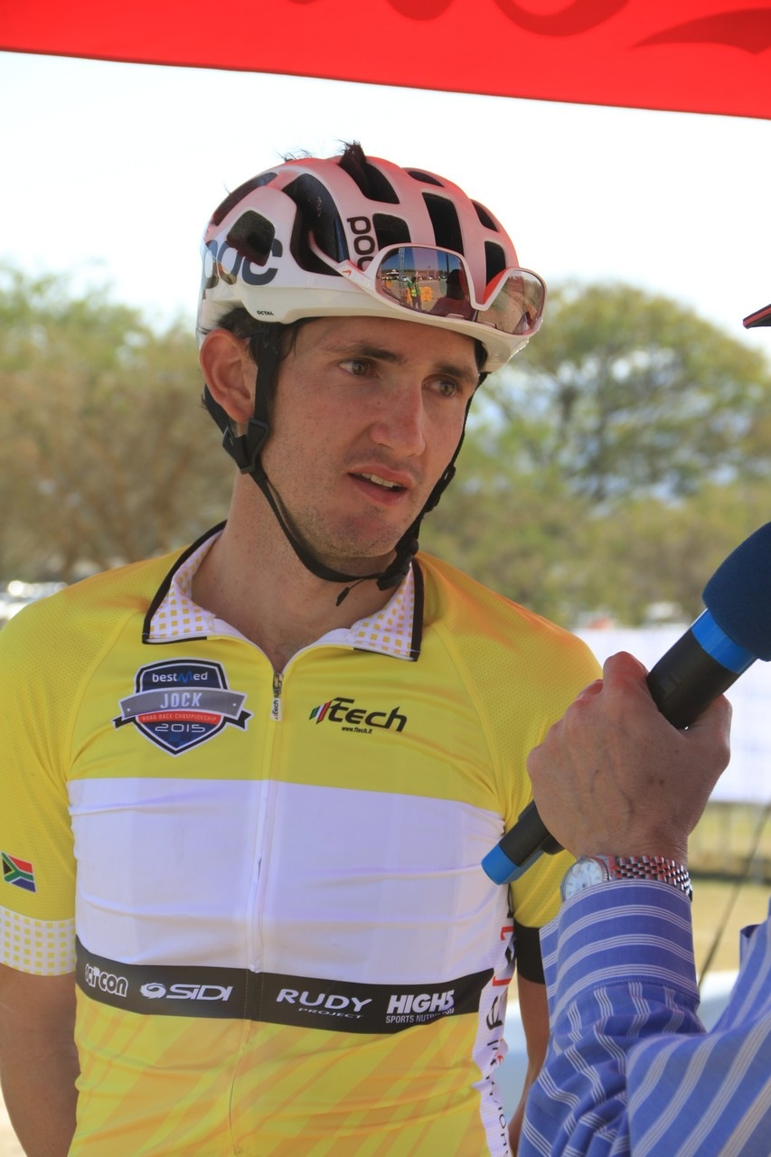 The overnight leader of the Bestmed Jock Tour, Willie Smit, kept the yellow jersey after finishing third on the 140km second stage in Mpumalanga on Saturday. Photo: Hendrik Wagener