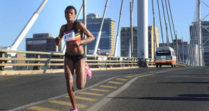 PUMA ambassador, Lebogang Phalula celebrated National Women's Day at the Mary Fitzgerald Square, Newtown on Sunday, 09 August 2015 where she claimed victory in the 10km Totalsports Women's Race in a remarkable time of 33 minutes 22 seconds.  PHOTO CREDIT:  Deon Haak / My Picture