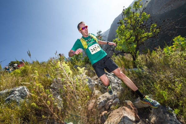 Dawid Visser, Promotions & Training Specialist ASICS South Africa, in action at the AfricanX Trailrun earlier this year.  Photo Credit:  Volume Photography