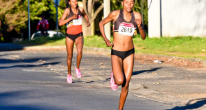 Phalula sisters, Lebo and Lebogang were among a strong line-up of athletes that toed the line at the Totalsports Women's Race in Stellenbosch on Monday, 10 August 2015.  Proving to be in a league of their own, there was no stopping these PUMA ambassadors as they set the pace from start to finish, claiming gold and silver in impressive times of 33 minutes 16 seconds and 33 minutes 36 seconds respectively. Seen here (from front to back):  Lebo and Lebogang Phalula in action on the day.  PHOTO CREDIT:  Peter Kirk Media