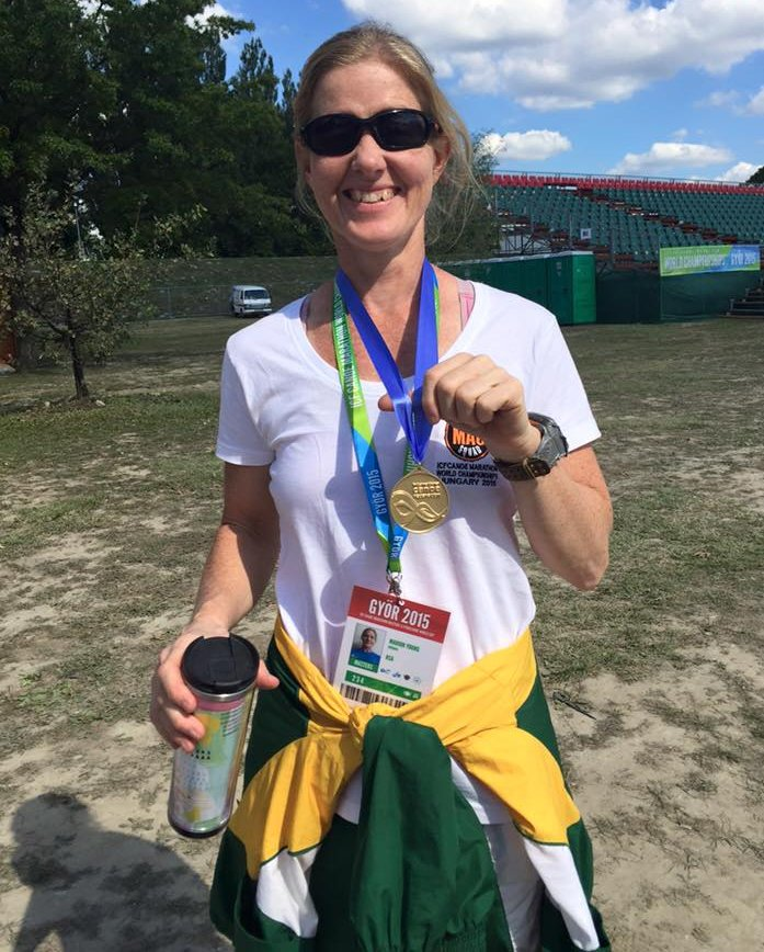 Marion Young proudly shows off her K1 Women 40-44 gold medal after Wednesday's opening day of the ICF Canoe Marathon Masters Cup in Győr, Hungary. Facebook/ Gameplan Media