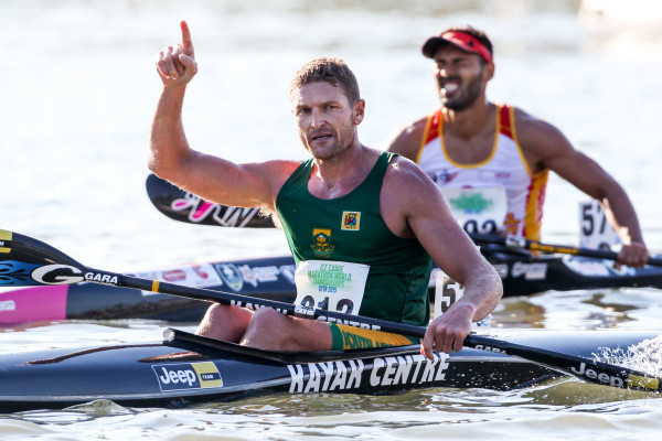 Jeep Team/Kayak Centre's Hank McGregor made it a third K1 title in a row at the 2015 ICF Canoe Marathon World Championships in Győr, Hungary. Balint Vekassy/ Gameplan Media