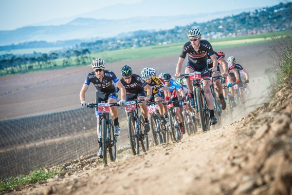 Lead riders close to the start of the 60km Fedhealth MTB Challenge at the picturesque Meerendal Wine Estate on Sunday, 06 September 2015.  Photo Credit:  Volume Photography