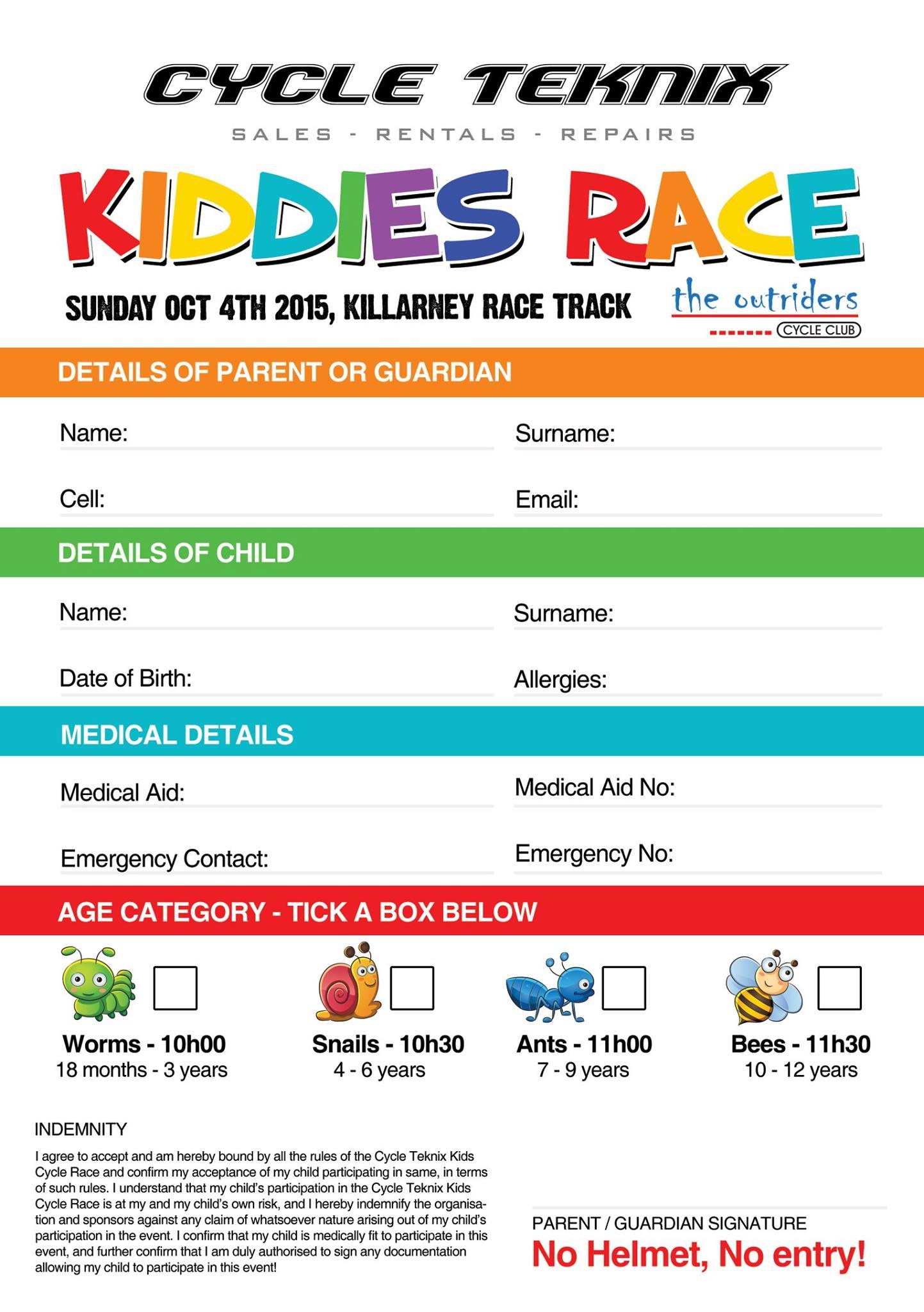 Kiddies Race Flyer