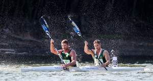 Having been in the front bunch for the entire race South Africa's Hank McGregor (left) and Jasper Mocké had to settle for second in the Men's K2 race at the 2015 ICF Canoe Marathon World Championships in Győr, Hungary. Balint Vekassy/ Gameplan Media