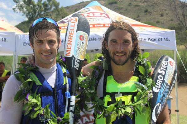 Local hero Greg Louw (left) and Andy Birkett (right) claimed a historic victory on Saturday when they won the 2015 Hansa Fish River Canoe Marathon which doubled as the South African K2 Championships. Kyle Gilham/ Gameplan Media