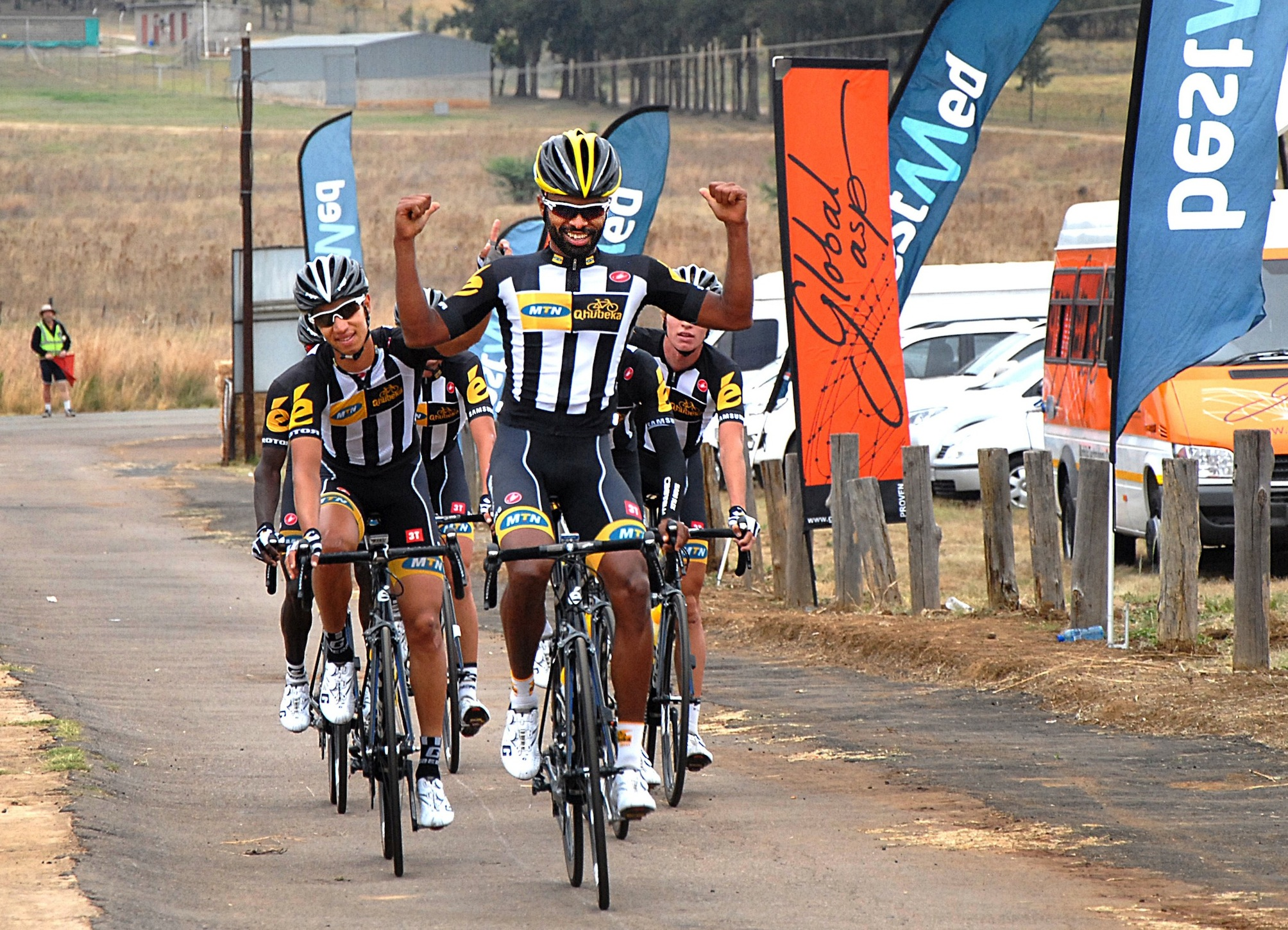 Africa Games gold medallist Meron Teshome said farewell to his MTN-Qhubeka teammates in fine style when he raced to victory in the Bestmed Satellite Classic, presented by ASG, near Hartbeespoort Dam on Saturday.