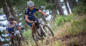 The much anticipated FNB Wines2Whales (W2W) Mountain Bike (MTB) Adventure kicked off at the picturesque Lourensford Wine Estate today (Friday, 30 October 2015).  Seen here (from left to right):  Michael Pretorius and Martin Fryer of Team Kia Namibia in action on the day.  Team Kia Namibia claimed victory in a lightning fast time of 04 hours 06 minutes 31 seconds.  Photo Credit:  Volume Photography