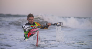 A determined Euro Steel/Epic Kayaks' Hank McGregor charges home to clinch victory at race three of the 2015 Illovo Suncoast Pirates Wall and Back Surfski Series, his second consecutive race win of the 2015 series. Anthony Grote/ Gameplan Media