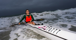 With some precious points on offer the young Kyeta Purchase managed to brave conditions on Friday evening and get herself right into the ladies mix with two races to go in the Illovo Suncoast Pirates Wall and Back Surfski Series. Anthony Grote/ Gameplan Media