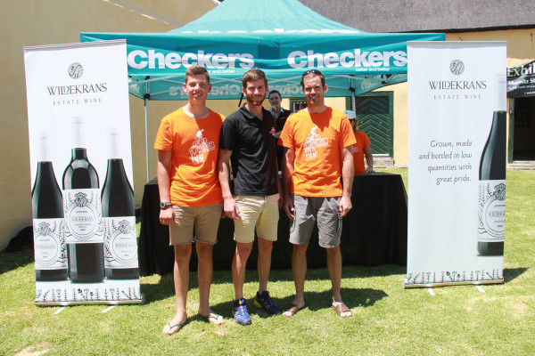 The men's podium:  Pieter Gildenhuys (Centre), in 2nd place Daniel Behm (Left) and in 3rd Des Doman (Right).