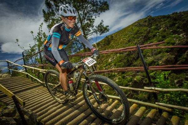 Seen here:  Chrizelda Walters in action during Stage Three of the FNB Wines2Whales MTB Ride on Wednesday, 04 November 2015.  Photo Credit:  Volume Photography